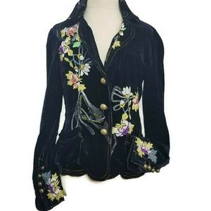 Johnny Was Embroidered Velvet Blazer Size Small